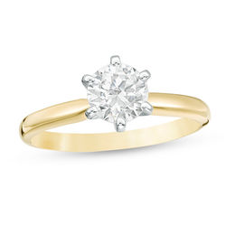 1 CT. Certified Diamond Solitaire Engagement Ring in 14K Gold (J/I2)