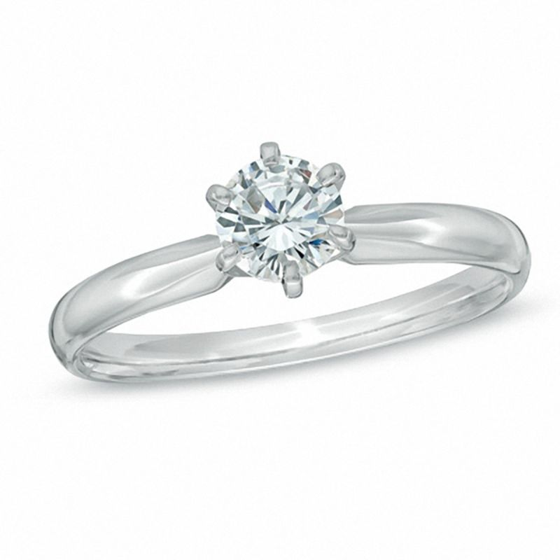 diamond solitaire engagement ring in 14k white gold - Solitaire Wedding Rings
