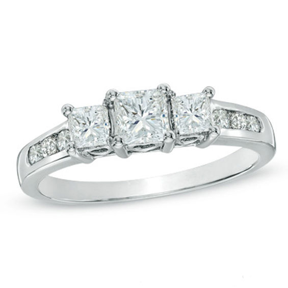 TW Princess Cut Diamond Past Present FutureR Engagement Ring In 14K