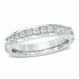 1 CT. T.W. Princess-Cut Diamond Wedding Band in 14K White Gold