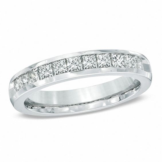 1 CT TW PrincessCut Diamond Wedding Band in 14K White Gold