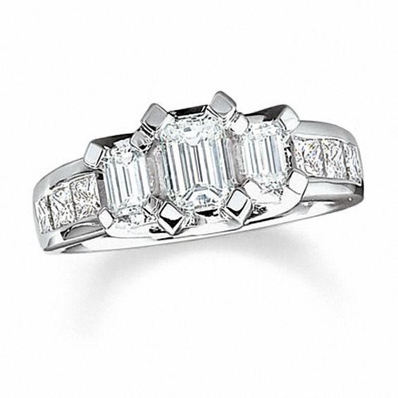 3 Ct T W Emerald Cut Diamond Three Stone Engagement