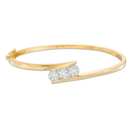 1/2 CT. T.W. Endless Diamond® Three Stone Bangle in 14K Gold