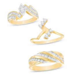 3/4 CT. T.W. Diamond Bypass Slant Wedding Ensemble in  14K Gold