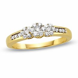 1/4 CT. T.W. Diamond Flower Three Stone Ring in 10K Gold