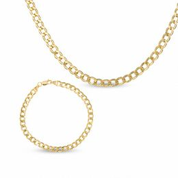 10K Gold Curb Chain Necklace and Bracelet Set