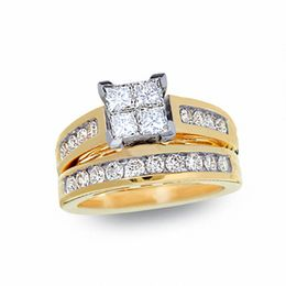 1-1/2 CT. T.W. Quad Princess-Cut Diamond Bridal Set in 14K Gold