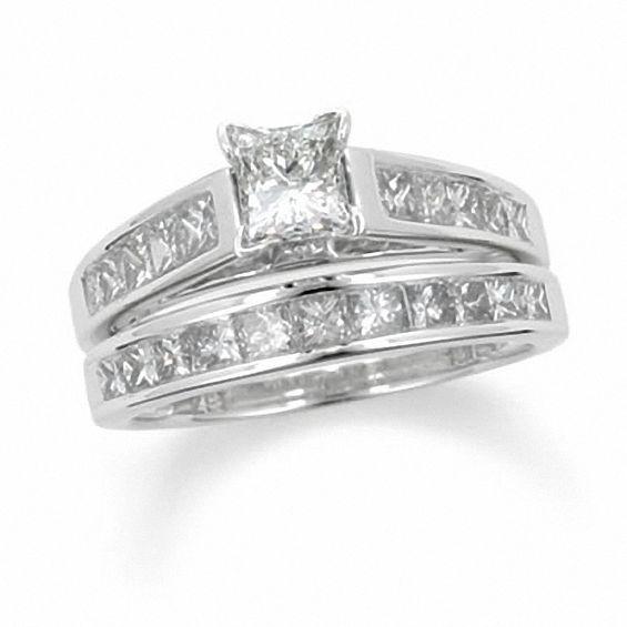 1 Ct T W Princess Cut Diamond Bridal Set In 14k White Gold