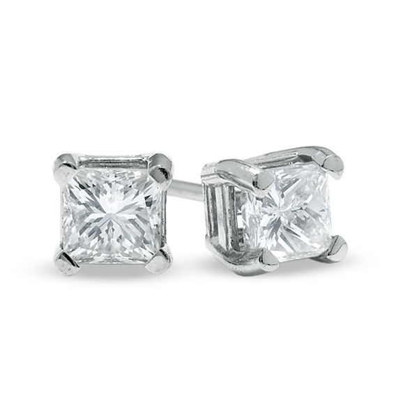 1 2 Ct T W Princess Cut Diamond Solitaire Stud Earrings In 14k White Gold