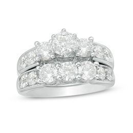 3 CT. T.W. Diamond Past Present Future® Bridal Set in 14K White Gold
