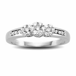 1/5 CT. T.W. Diamond Triple Flower Ring in 10K White Gold