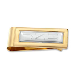 Men's Engravable Money Clip in Silver-Tone and Brass with 23K Gold Plate (1-3 Initials)