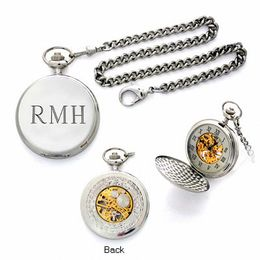 Silver Tone Engraved Pocket Watch with 18K Gold Accents (1-3 Initials)