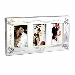 Silver Plated Engraved Wedding Picture Frame (2 Lines)