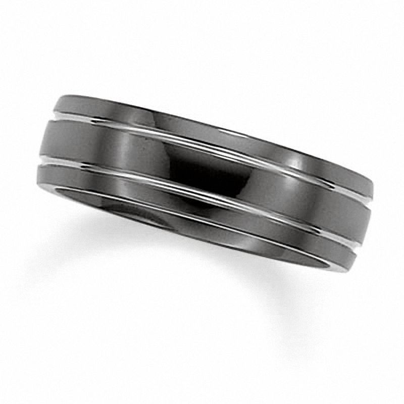 Mens Wedding Bands Titanium.Triton Men S 7 0mm Black Titanium Wedding Band Zales