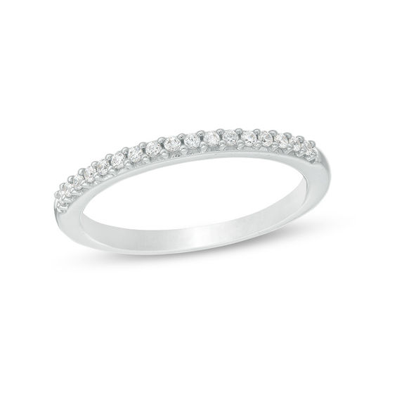 T W Colorless Diamond Wedding Band In 18k White Gold