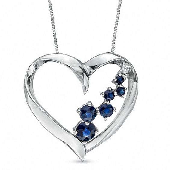 Blue Sapphire And Diamond Accent Journey Heart Pendant In