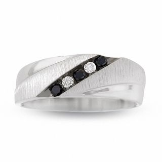 mens 15 ct tw enhanced black and white diamond five stone band in