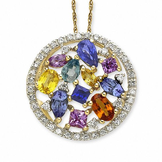 Multi color sapphire circle pendant in 14k gold with diamond accents multi color sapphire circle pendant in 14k gold with diamond accents mozeypictures Image collections