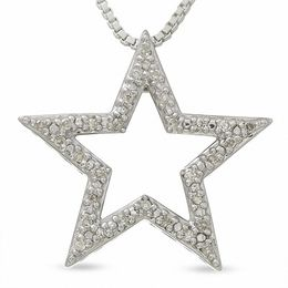 Star Pendant with Diamond Accents in Sterling Silver