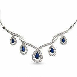 7/8 CT. T.W. Round Diamond and Blue Sapphire Necklace in 10K White Gold