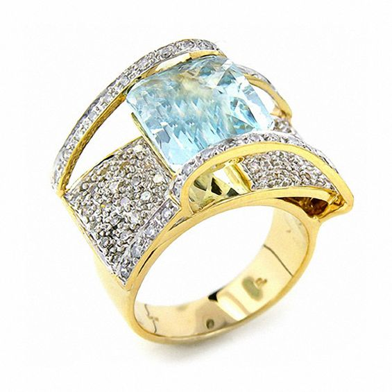 Square Aquamarine Ring In 14k Gold With Diamond Accents