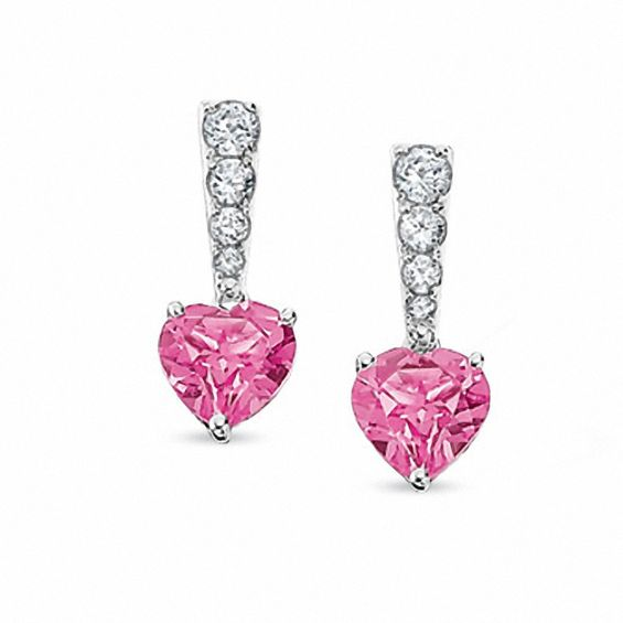 Lab Created Pink Shire Stick Heart Earrings In 10k White Gold With