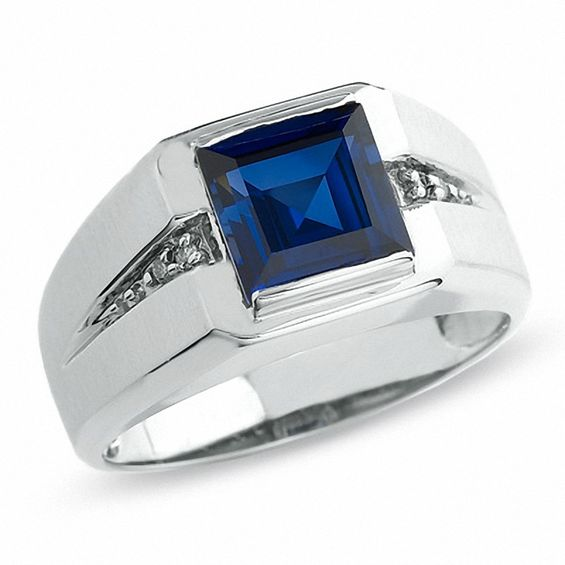 Men's Lab-Created Blue Sapphire Ring in 10K White Gold with Diamond  Accents|Zales