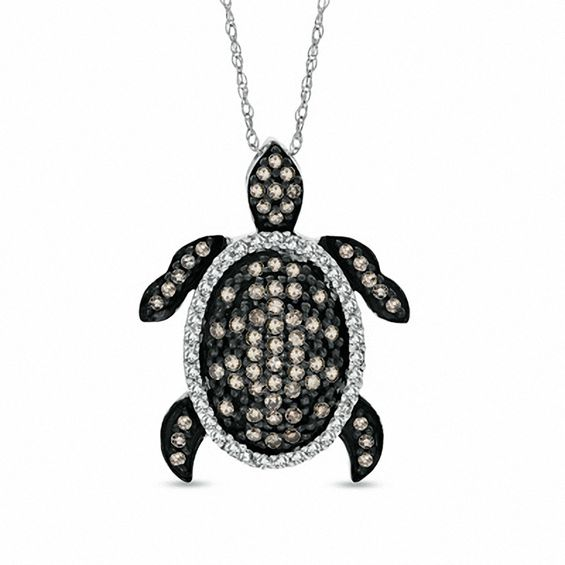 12 ct tw champagne and white diamond turtle pendant in 10k white tw champagne and white diamond turtle pendant in 10k white gold mozeypictures Images