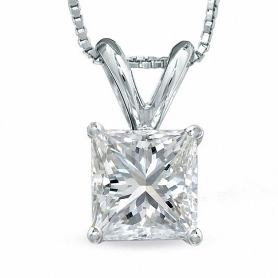 1 CT. Certified Princess-Cut Diamond Solitaire Pendant in Platinu