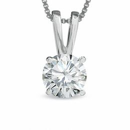1/2 CT. Certified Diamond Solitaire Pendant in 18K White Gold (I/VS2)