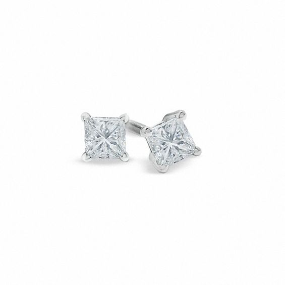 1 2 Ct T W Certified Princess Cut Diamond Solitaire Stud Earrings In Platinum