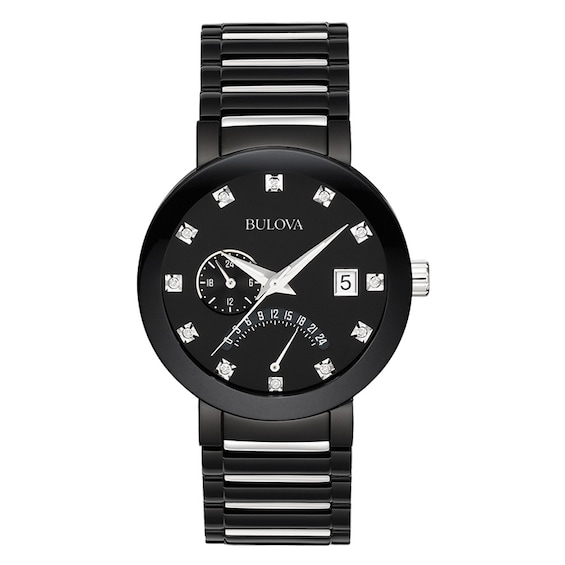 Mens Bulova Modern Diamond Accent Two-Tone IP Watch with Black Di