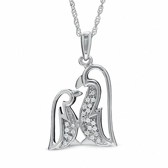 Diamond Accent Penguin Love Pendant in Sterling Silver