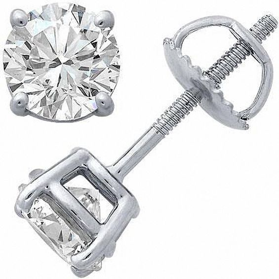1/3 CT. T.w. Certified Diamond Solitaire Stud Earrings in Platinum (I/si2)