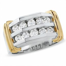 Men's 1 CT. T.W. Diamond Double Row Band in 10K Two-Tone Gold