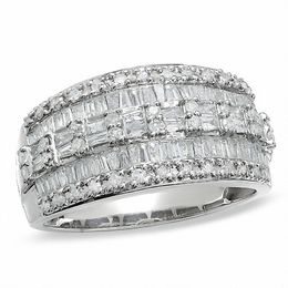 1 CT. T.W. Baguette and Round Diamond Three Row Ring in 10K White Gold