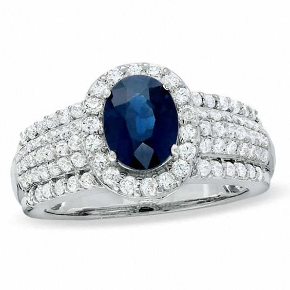 Oval Blue Sapphire And 3 4 Ct T W Diamond Ring In 14k