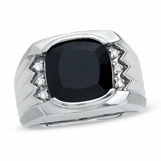 Zales Mens Cushion-Cut Onyx Ring in Sterling Silver with Diamond Accents g4x5wR