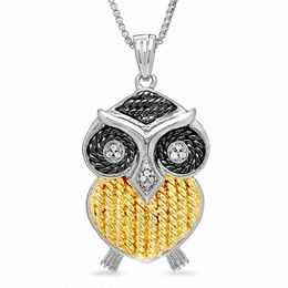 Diamond Accent Owl Pendant in Sterling Silver