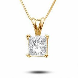 1/3 CT. T.W. Certified Princess-Cut Diamond Solitaire Pendant in 18K Gold (I/SI2)