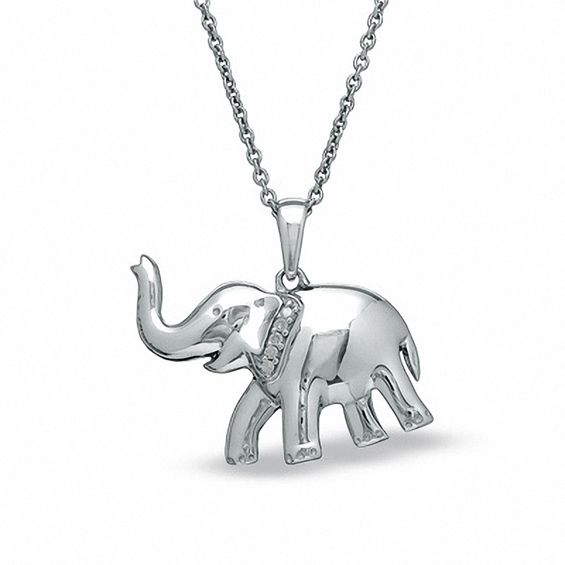 Diamond Accent Elephant Pendant In Sterling Silver