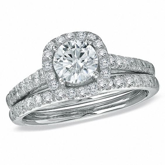 1 3 4 CT T W Diamond Framed Bridal Set in 14K White Gold