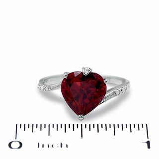 9 0mm Heart Shaped Lab Created Ruby Bypass Ring In 10k
