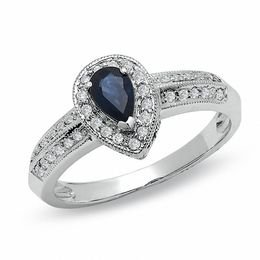 Pear-Shaped Blue Sapphire Vintage-Style Engagement Ring in 10K White Gold with Diamond Accents