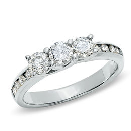 1 CT. T.W. Diamond Three Stone Ring in 10K White Gold