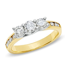 1 CT. T.W. Diamond Past Present Future® Engagement Ring in 10K Gold