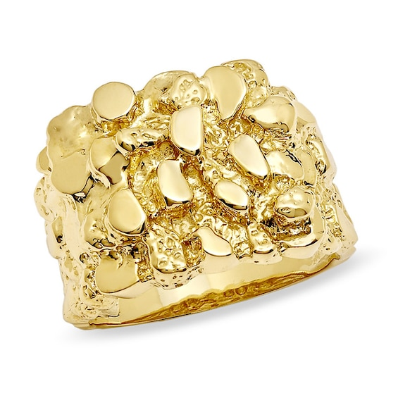 Men S 10k Gold Nugget Ring Online Exclusives Collections Zales