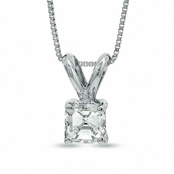 1/3 CT. Certified Asscher-Cut Diamond Solitaire Pendant in Platin
