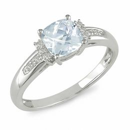 Cushion-Cut Aquamarine and Diamond Engagement Ring in 10K White Gold